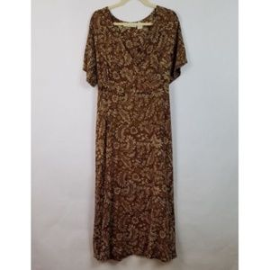 Orvis Brown Floral Full Length Tie Back Dress